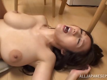 Bending over busty Julia for some passionate pussy penetrating