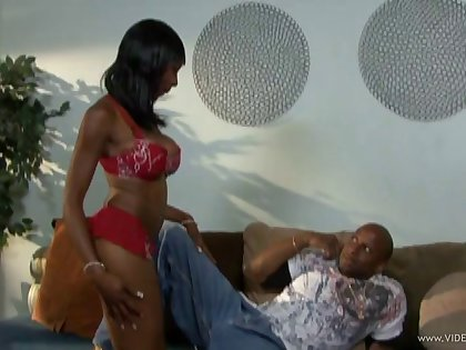 Seductive ebony dame with big tits being pounded by a big black cock