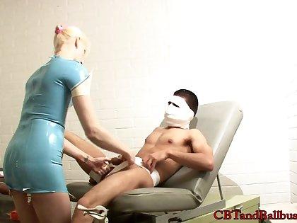 Blonde nurse busting her guys balls passionately in BDSM sex