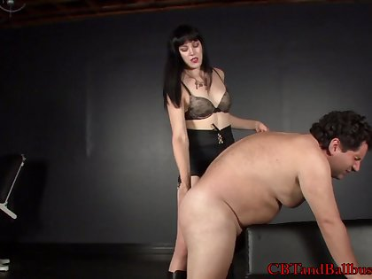 Sexy brunette torture uncle by spanking & ball busting femdom
