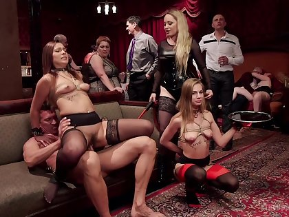 Upper floor orgy with the sluts from the office