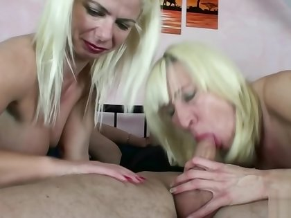 German Mother Teach Step Son mit Aunt in Threesome to Fuck