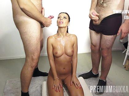 PremiumBukkake - Vicky Love swallows 17 huge gnaw cumshots
