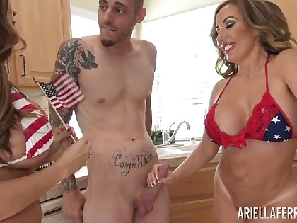Legendary triple sexual intercourse video leading role Ariella Ferrera and Richelle Ryan