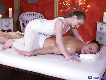 Hot ass amateur Lady Buff gives a nice massage and rides his unearth