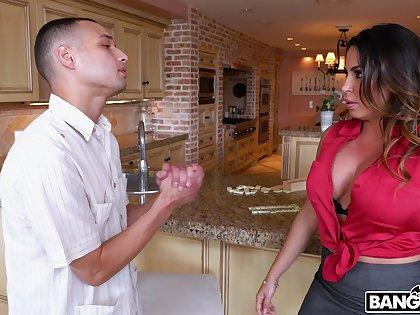 Wild fucking on the kitchenette table with busty MILF Julianna Vega