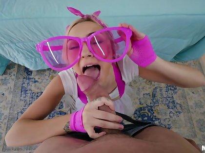 Teen in pink glasses Chloe Temple is fucked hard by brutal bald head man